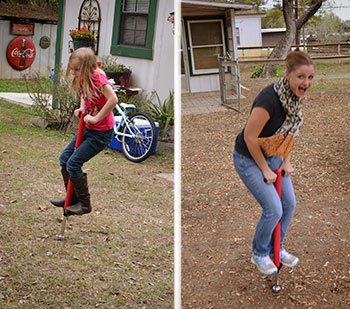 Me, showing my oldest daughter, Shelby (7), how to properly use the pogo stick that she got for Christmas.  I forgot how much fun those things are!