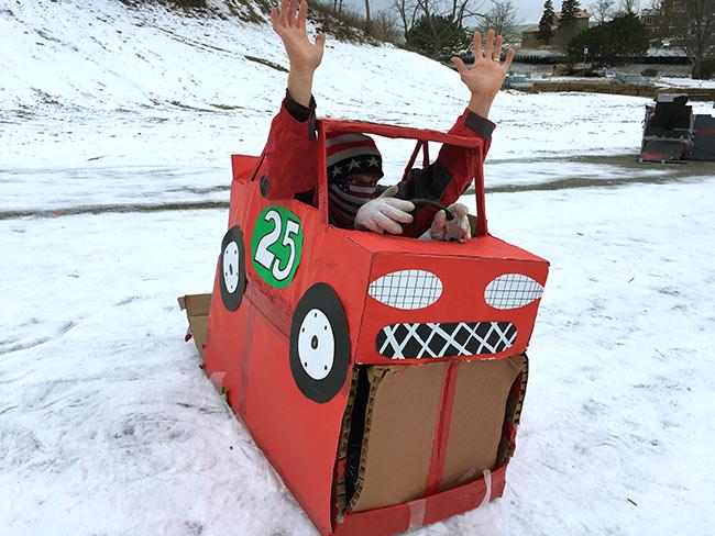 cardboard-sled-race