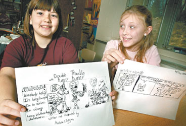 Huegel Elementary School third-graders created their own cartoon characters and comic strips based on real-life experiences, under the tutelage of Madison cartoonist Jason Kotecki (Craig Schreiner — State Journal)
